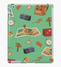 Seamless Pattern of Camping Elements with Baggage, Travel Accessories and Map iPad Case/Skin