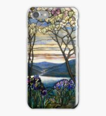 Tiffany Glass Magnolia and Irises Artwork Art Print iPhone Case/Skin