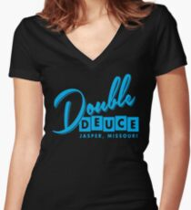 Double Duece Women's Fitted V-Neck T-Shirt