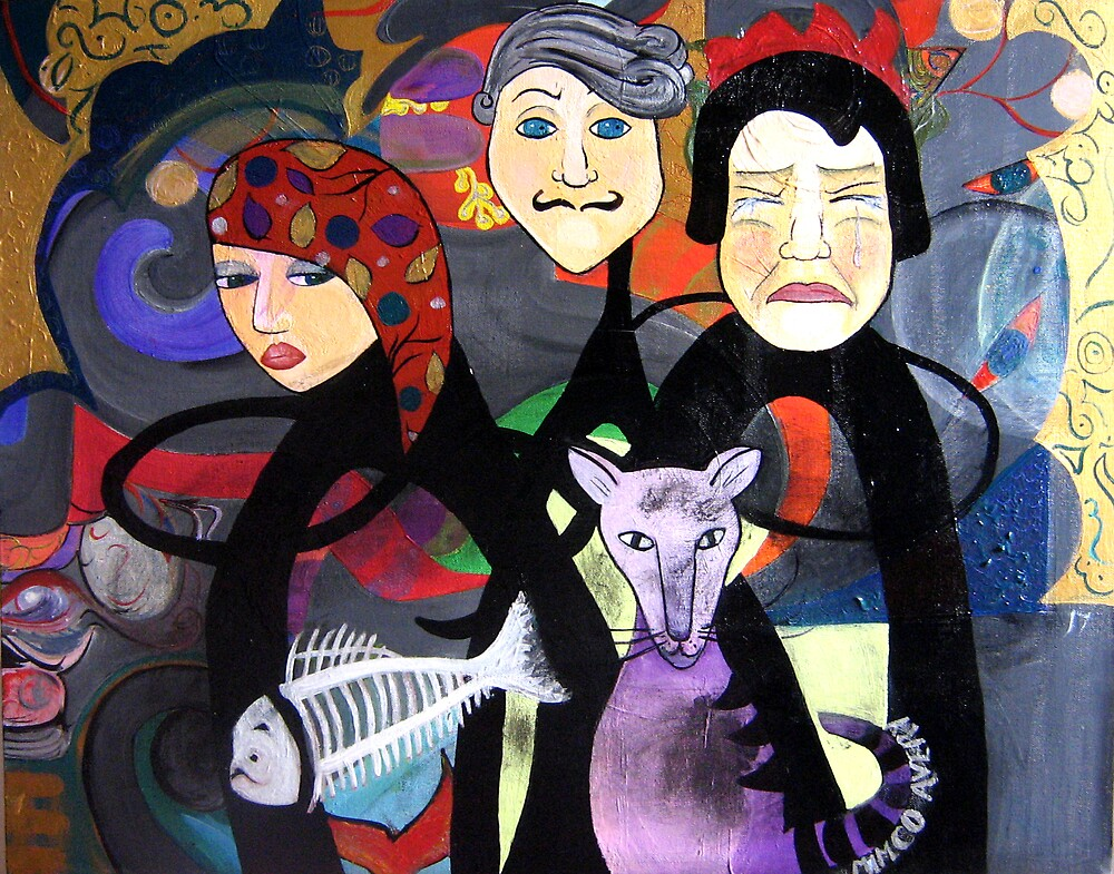 3 faces & cat by Michelle Avery