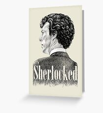 Sherlock Holmes - Sherlocked - Benedict Cumberbatch Crosshatch Portrait Greeting Card