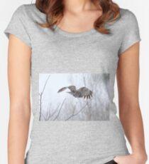 Great Gray Owl in Flight Women's Fitted Scoop T-Shirt