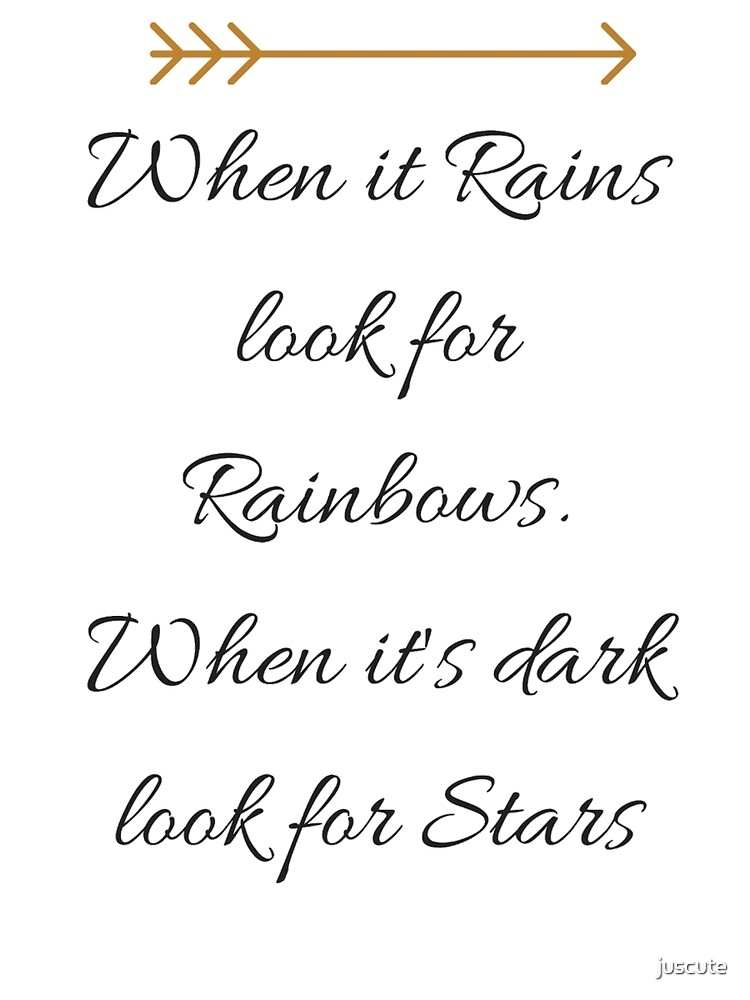 Canvas Wall Art Print picture WHEN IT RAINS LOOK FOR RAINBOW QUOTE BROWN