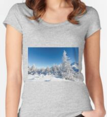 Winter mountain forest landscape, Tatry Mountains Women's Fitted Scoop T-Shirt