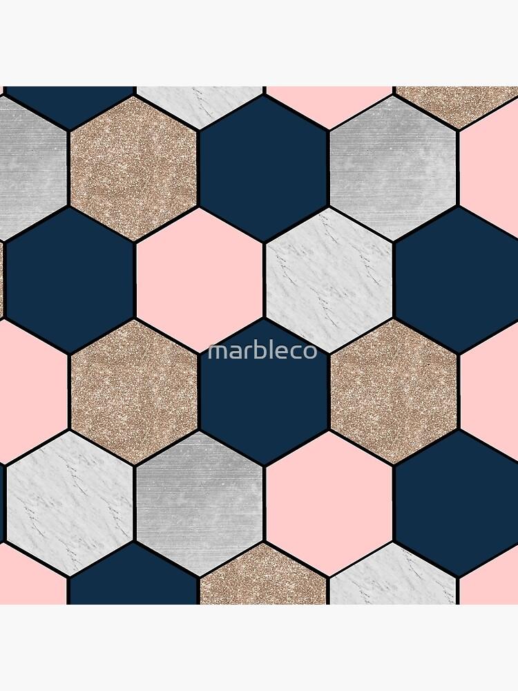 Hexágonos geométricos de la marina de guerra y melocotón de marbleco