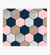 Navy and peach geometric hexagons Photographic Print