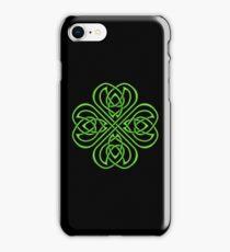 Irish Shamrock Green Celtic Knotwork on Black iPhone Case/Skin