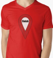 Finish Here Couple or Kids Exploring Mens V-Neck T-Shirt