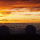 Keck Telescopes Above Clouds by John Leeman