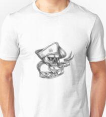 Skull Patriot USA Flag Ribbon Tattoo T-Shirt