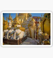 Myanmar. Yangon. Shwedagon Pagoda. Sculptures. Sticker