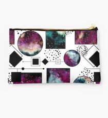 Watercolor Galaxy in Squares and Circles Studio Pouch