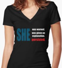 Nevertheless, she persisted. Women's Fitted V-Neck T-Shirt