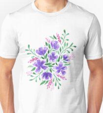 Purple Watercolor Flower Arrangement Unisex T-Shirt