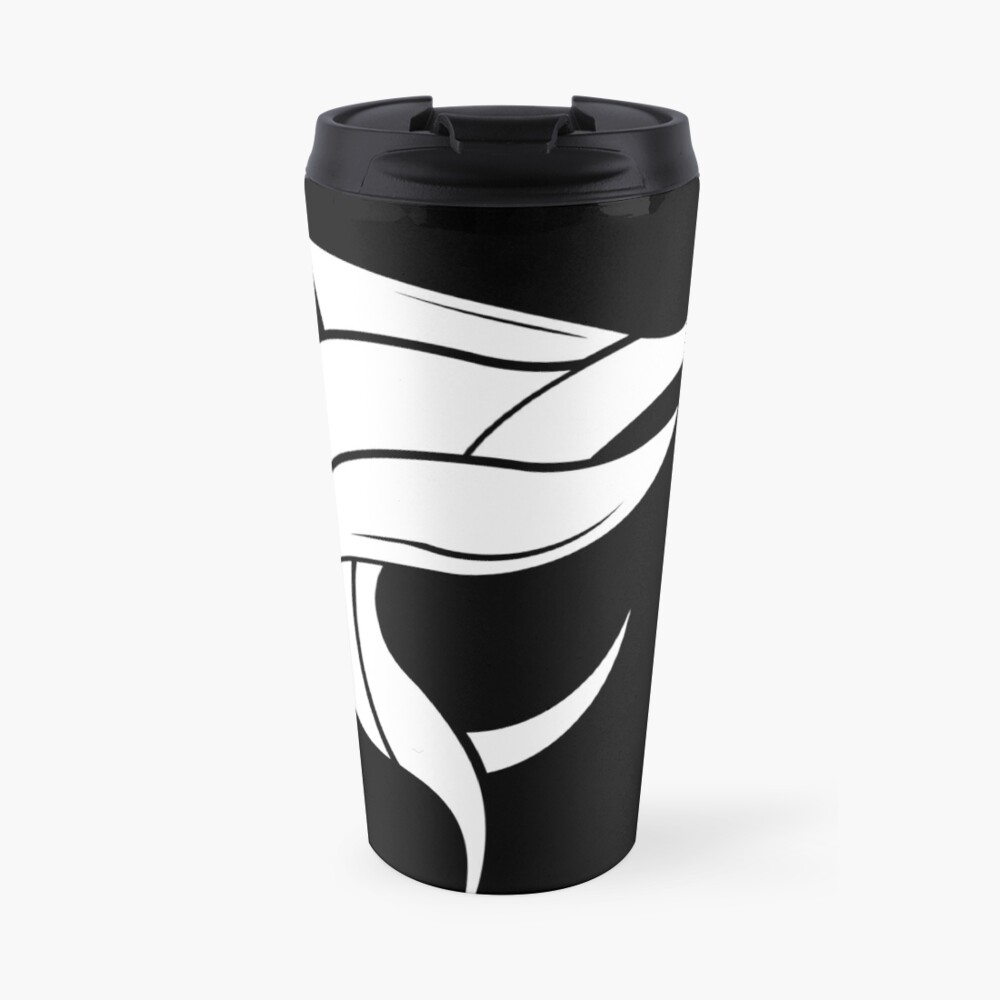 Black Marlin Blog Logo - White on Black Travel Mug