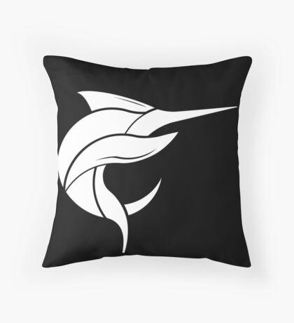Black Marlin Blog Logo - White on Black Throw Pillow