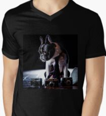 French Bulldog Amateur Photographer Dog                                    Mens V-Neck T-Shirt