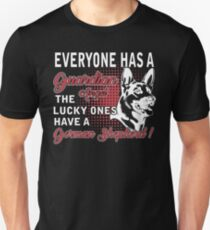 Everyone has a guardian angel The lucky ones have a german shepherd Unisex T-Shirt