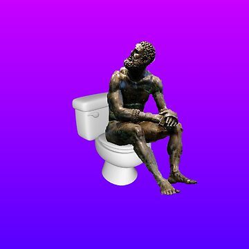 Thinker on the Crapper - Pink and Blue Version by Binsworth