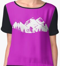 Wheelie in front of mountains Chiffon Top