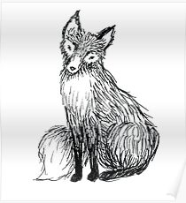 Cute little ink fox Poster
