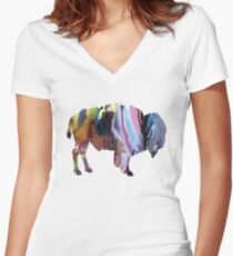 bison Women's Fitted V-Neck T-Shirt