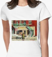 FAMOUS CANADIAN PAINTINGS BY ARTISTS OF CANADA WINTER URBAN SCENES CAROLE SPANDAU Womens Fitted T-Shirt