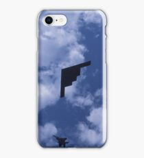 Stealth bomber with fighter escort iPhone Case/Skin