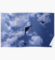 Stealth bomber with fighter escort Poster