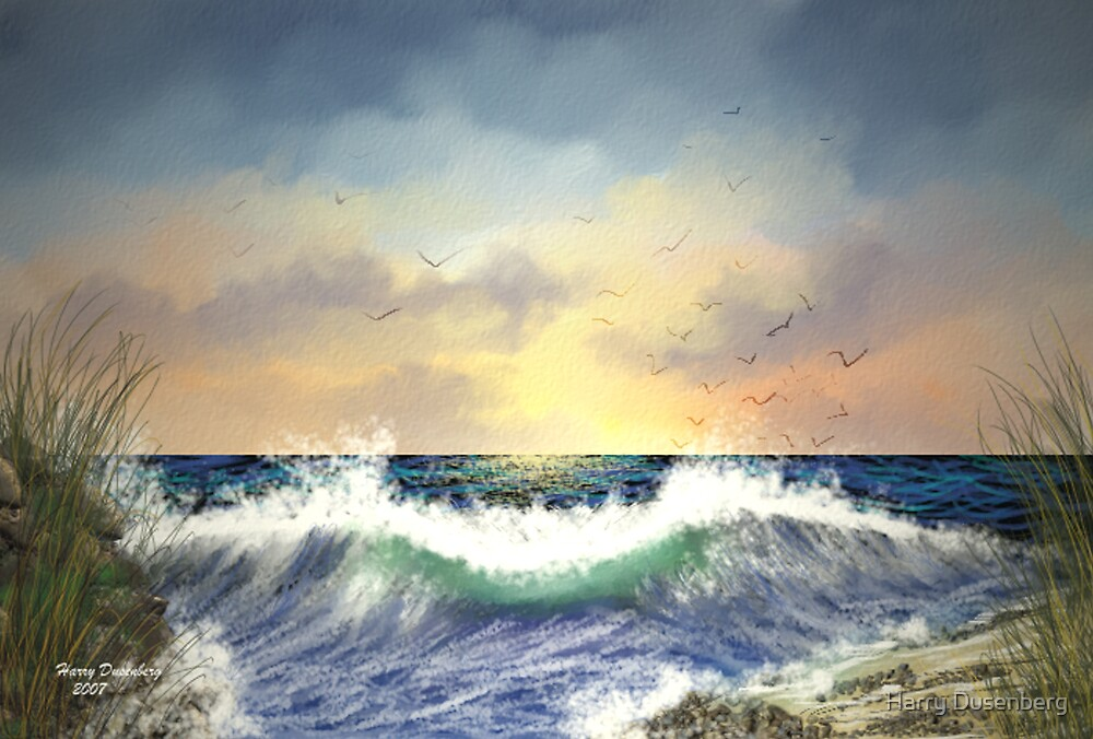 Gulls Feeding at Sunrise by Harry Dusenberg