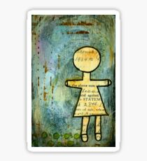 Vintage Paper Doll in mixed media Sticker