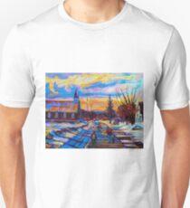 CANADIAN LANDSCAPE HOCKEY ART PAINTINGS WINTER SCENES OF CANADA CAROLE SPANDAU Unisex T-Shirt