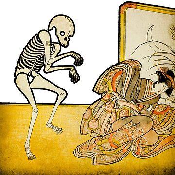 Skeleton Monk Ghost Japanese Woodcut by DudePal