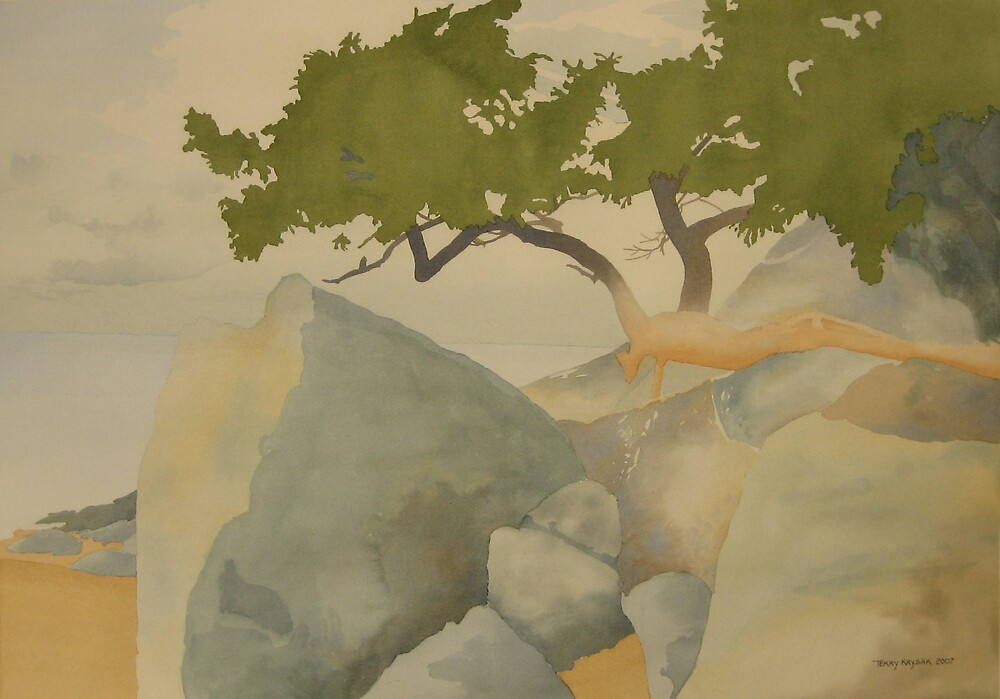 Mayne Island Arbutus-Watercolor Artwork by Terry Krysak
