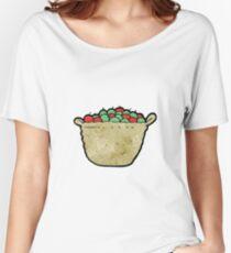 cartoon basket of apples Women's Relaxed Fit T-Shirt