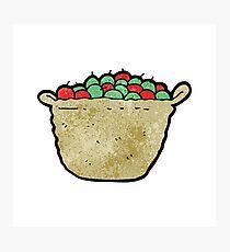 cartoon basket of apples Photographic Print