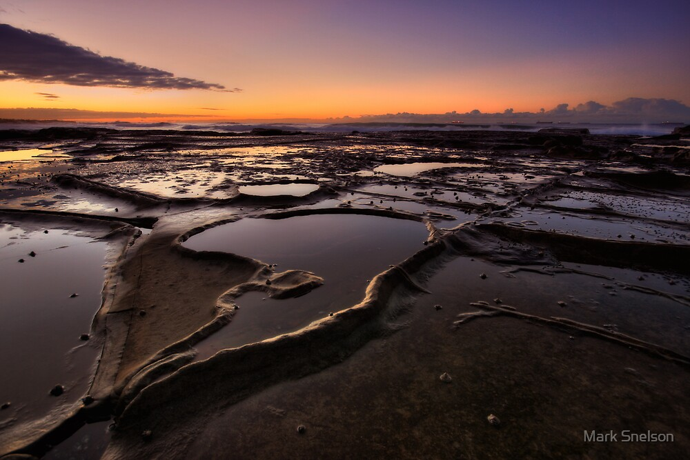 Bar Beach Rock Platform 4 by Mark Snelson