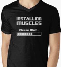 Installing Muscles Please Wait Loading Bar Men's V-Neck T-Shirt