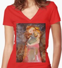 Expecting Women's Fitted V-Neck T-Shirt