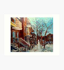 CANADIAN WINTER URBAN SCENE PAINTING CAROLE SPANDAU Art Print