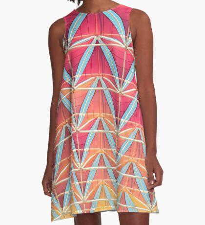 Vom rosa zum gelben Muster A-Linien Kleid