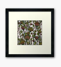 Green and Brown Floral Framed Print