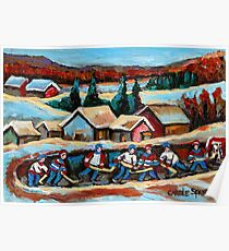 CANADIAN WINTER SCENES POND HOCKEY PAINTINGS COUNTRY SCENES CAROLE SPANDAU Poster