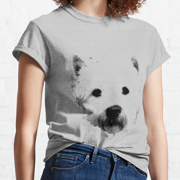 West Highland White Terrier Westie Digital Engraving Classic T-Shirt
