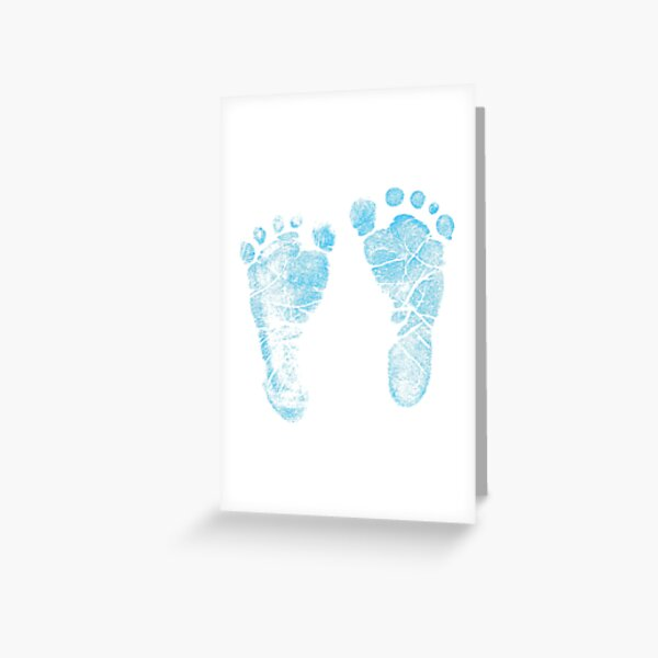 Blue Baby Footprints. Adorable Baby Feet Perfect For New Baby Boy Greeting Card