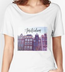 Amsterdam Row House Calligraphy Travel Print Women's Relaxed Fit T-Shirt