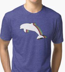 Rainbow Dolphin Tri-blend T-Shirt