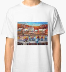 CANADIAN SCENERY POND HOCKEY ART PAINTINGS OF CANADA CAROLE SPANDAU Classic T-Shirt