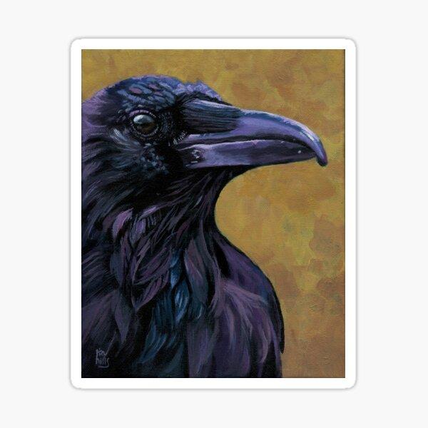 Raven wildlife bird painting Sticker