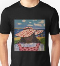 Girl in Red & White Hat on Beach T-Shirt